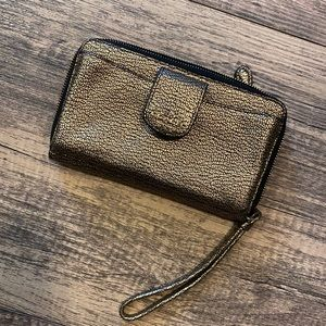Black and gold Coach wallet